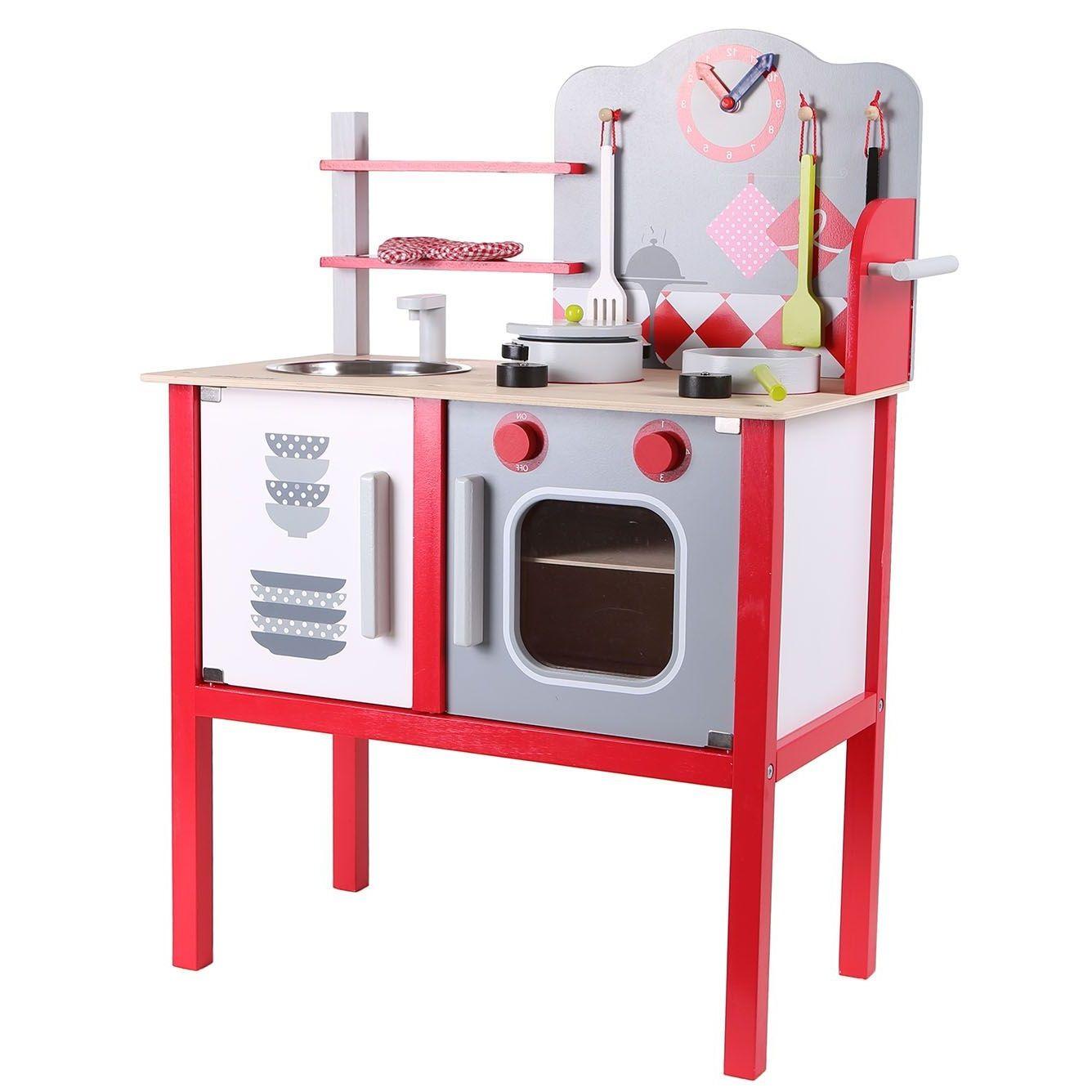 Kuchnia Drewniana Z Wyposazeniem Dla Dzieci Ecotoys