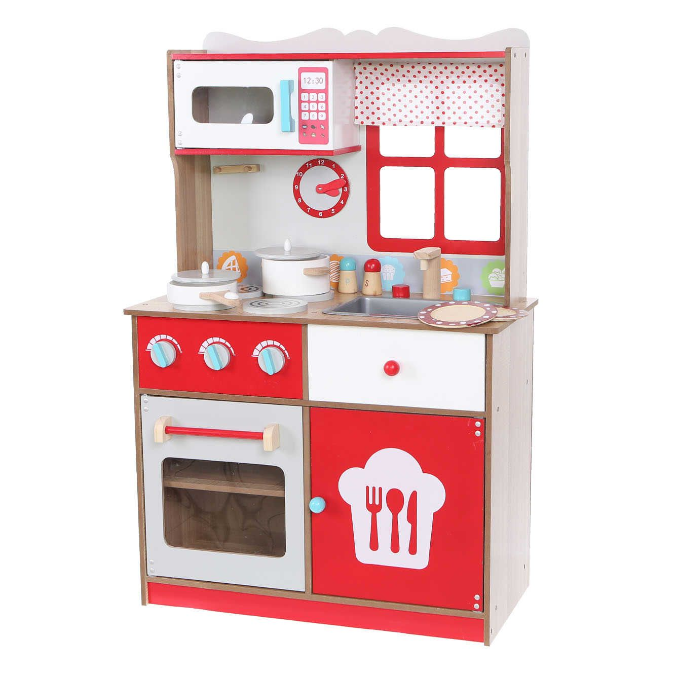 Kuchnia Drewniana Z Wyposażeniem Dla Dzieci