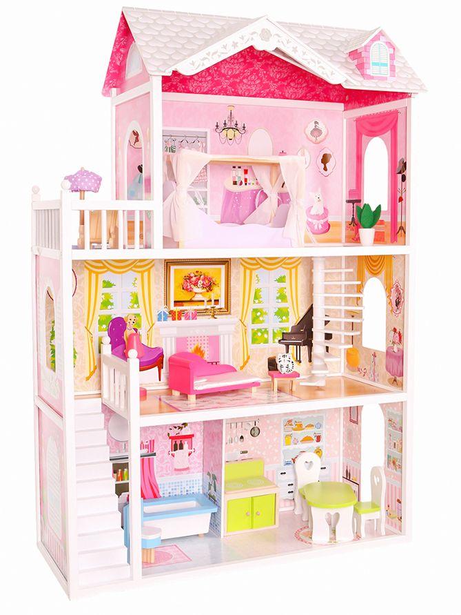 3403618962dd Domek dla lalek barbie drewniany Rezydencja California Ecotoys